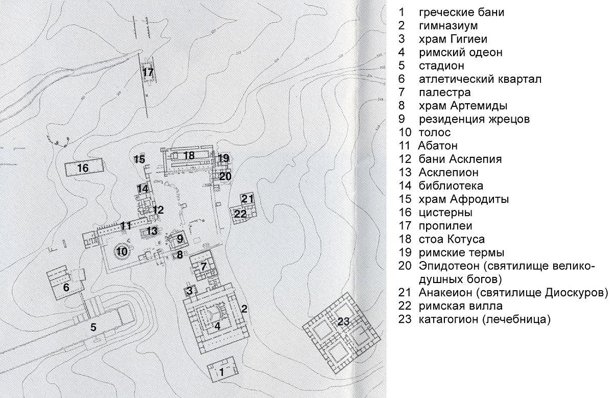 Карта Эпидавра