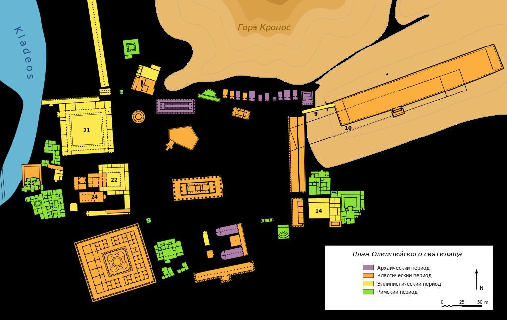 План священного участка в Олимпии