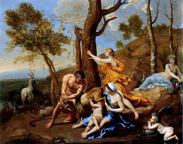 Коза Амалфея кормит молоком Зевса